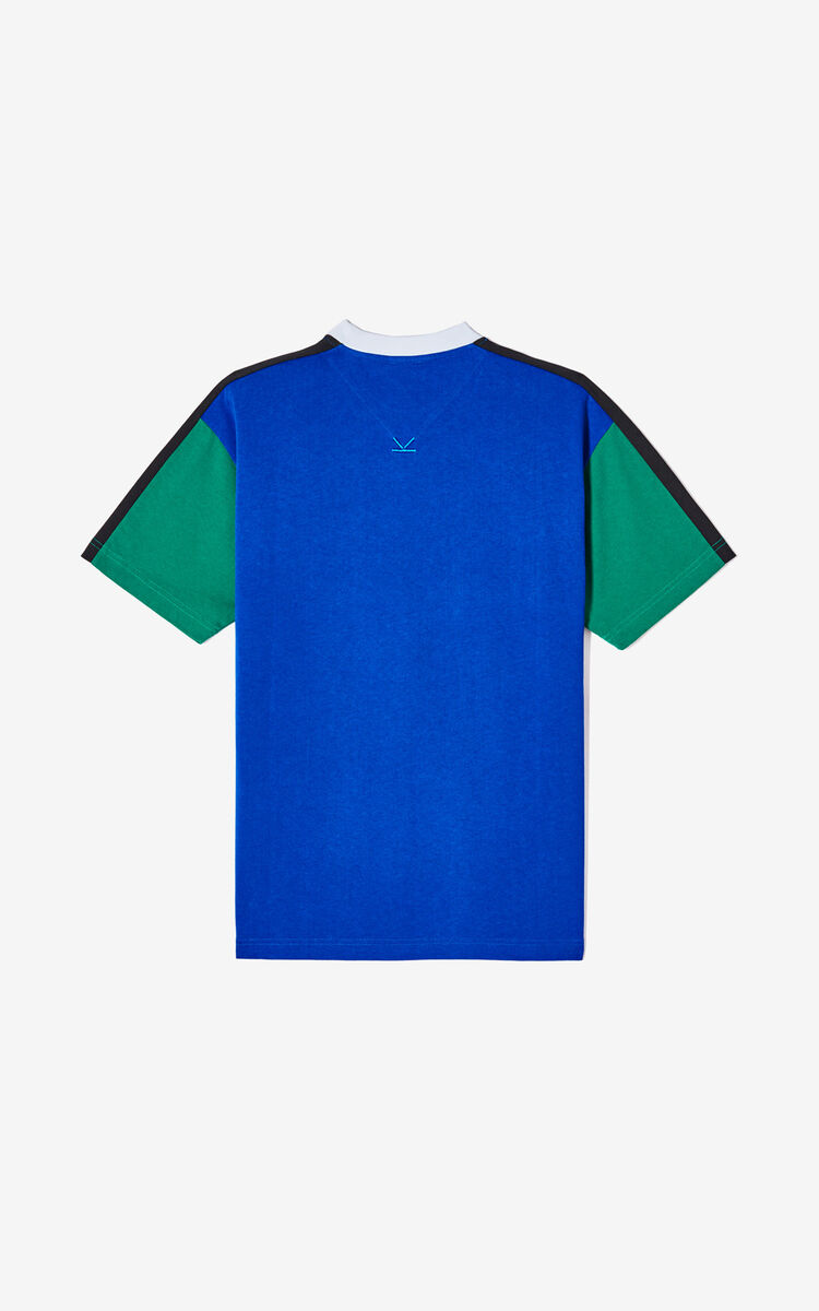 FRENCH BLUE KENZO logo colorblock T-shirt for men