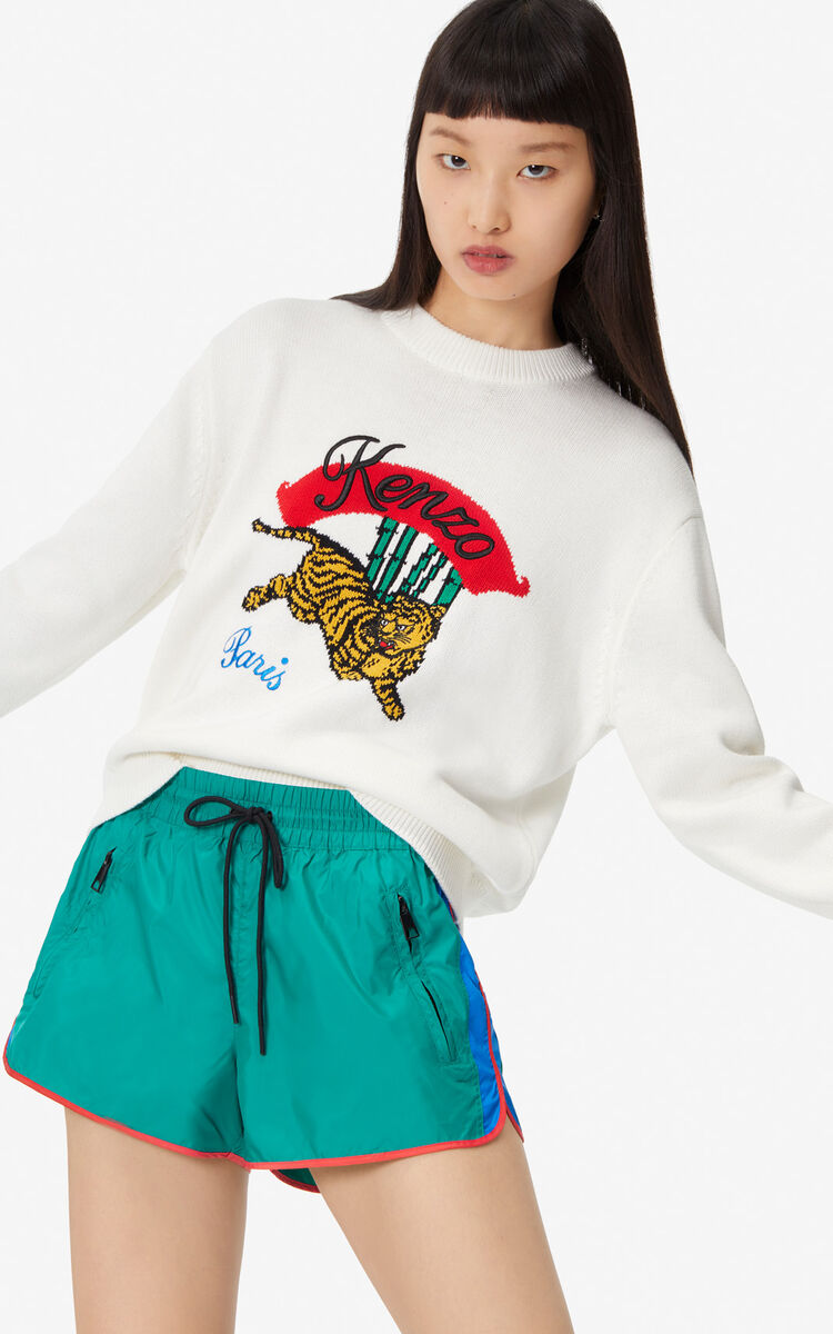 WHITE 'Bamboo Tiger' jumper for women KENZO