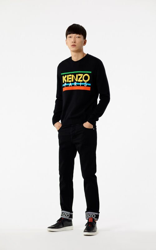 BLACK Slim-fit jeans with KENZO logo and turn ups for men
