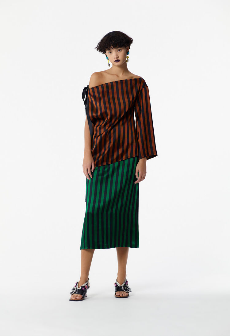 GRASS GREEN Striped midi skirt for women KENZO