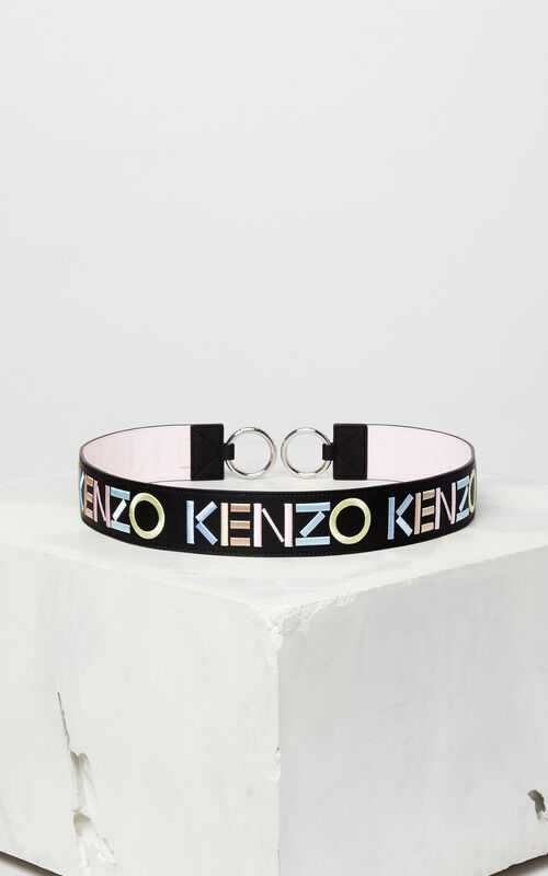 BLACK KENZO logo reversible leather shoulder strap for unisex