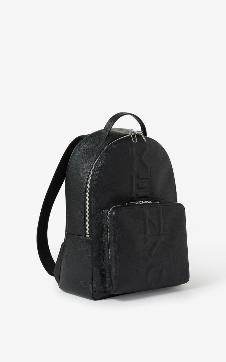 BLACK Grained leather backpack for unisex KENZO