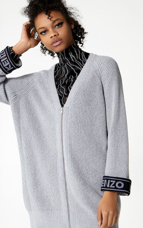 PALE GREY KENZO Logo cardigan for women