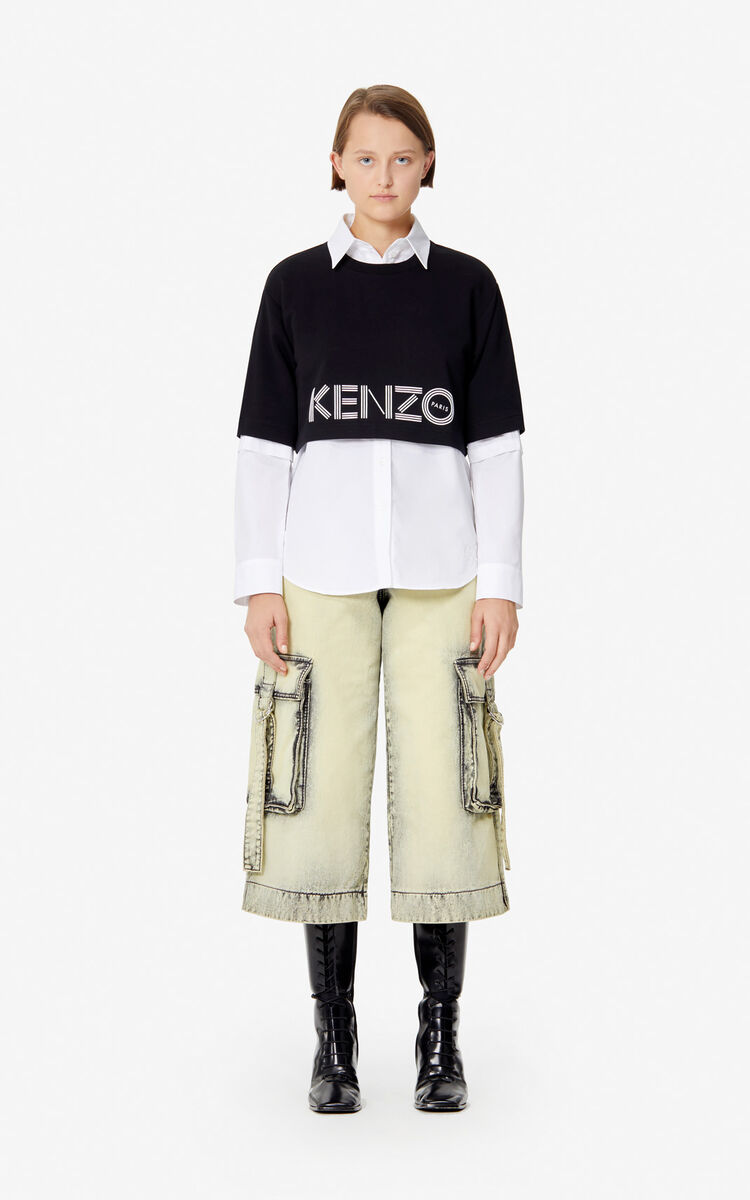 BLACK Cropped KENZO logo sweatshirt for women
