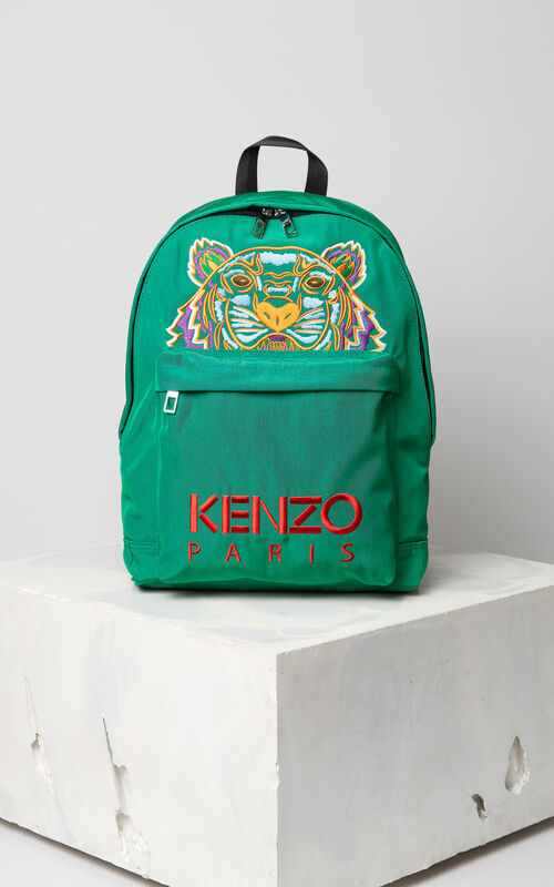 GRASS GREEN Large Tiger Canvas backpack for men KENZO