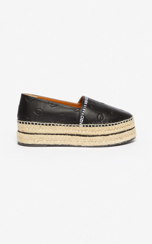 BLACK Multi Eye platform espadrilles for unisex KENZO