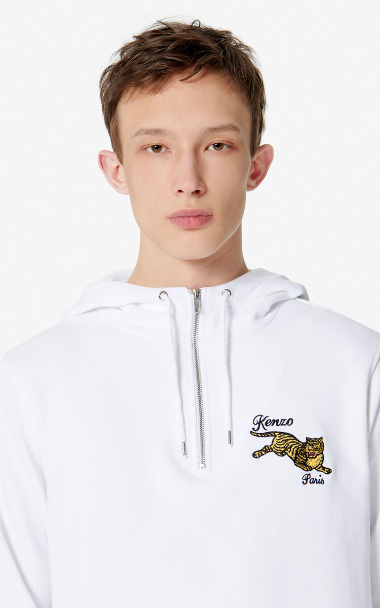 WHITE 'Jumping Tiger' hoodie for women KENZO
