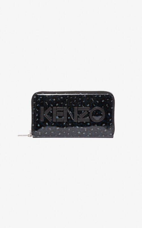 MIDNIGHT BLUE KENZO Logo Leopard wallet for men