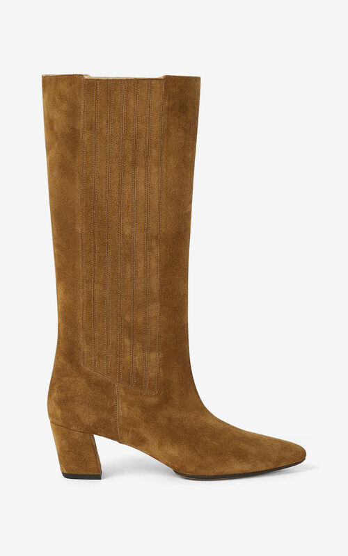DARK CAMEL K-Line Soft heeled suede boots for unisex KENZO