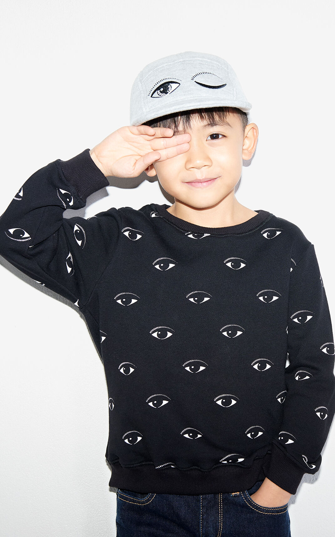 BLACK Multi Eyes Sweatshirt for men KENZO