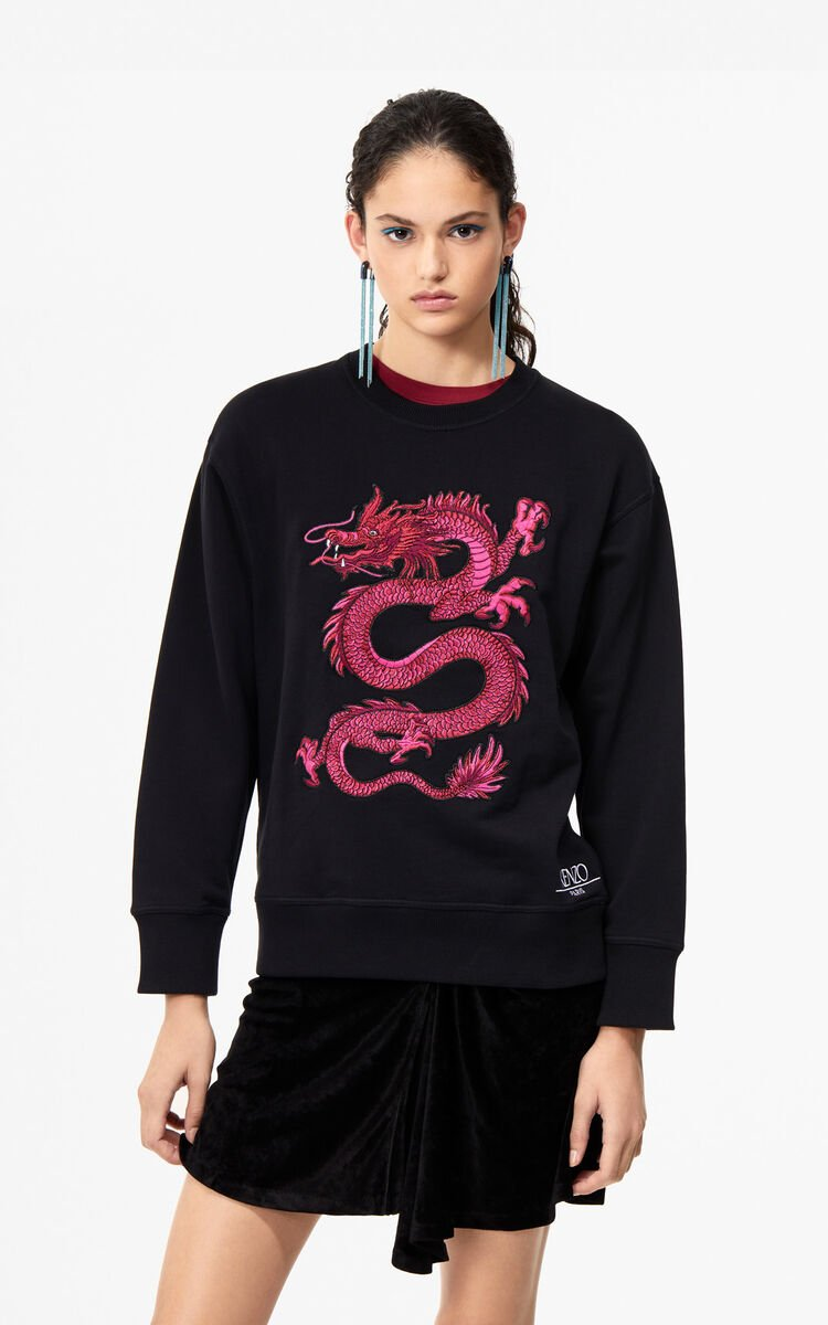 BLACK Dragon sweatshirt 'Holiday Capsule' for women KENZO