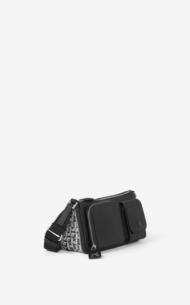 BLACK Small KENZO Kompact grained leather shoulder bag for women