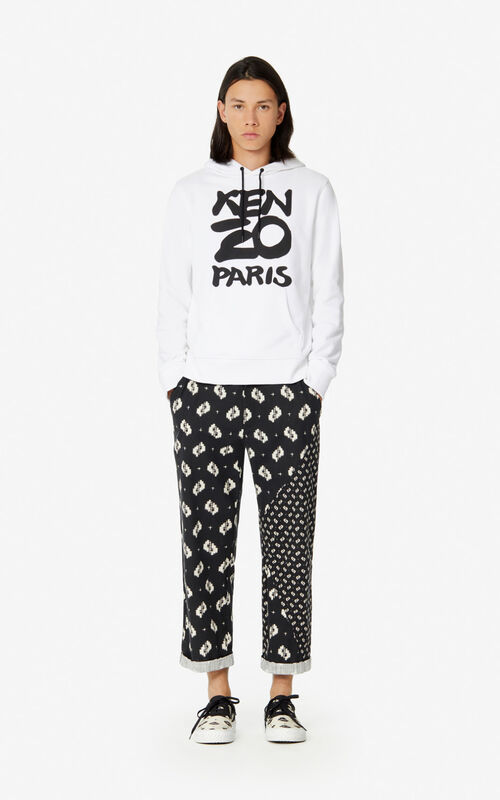 WHITE KENZO Paris hooded sweatshirt  for men