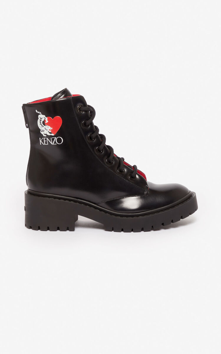 BLACK 'Valentine's Day Capsule' 'Lucky Tiger' Pike boots for women KENZO