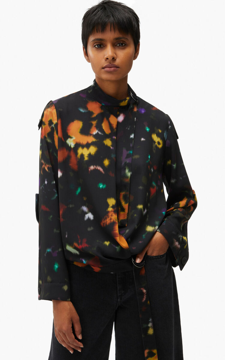 BLACK 'Abstract Floral' wrap blouse for women KENZO