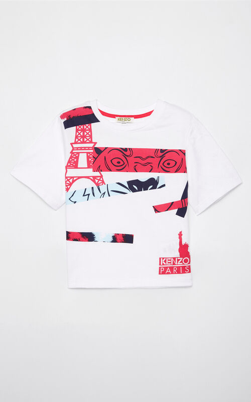 WHITE Multi-logo t-shirt for men KENZO