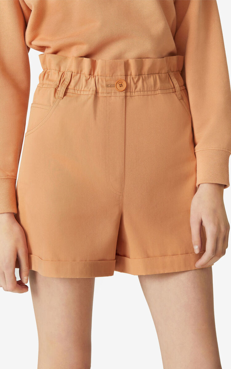 COGNAC High-waisted elasticated shorts for women KENZO