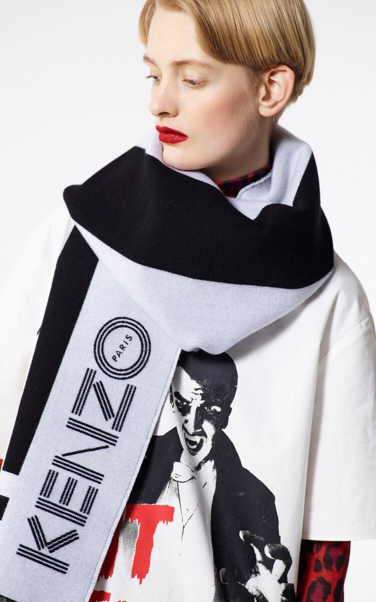 BLACK KENZO Logo wool scarf for unisex