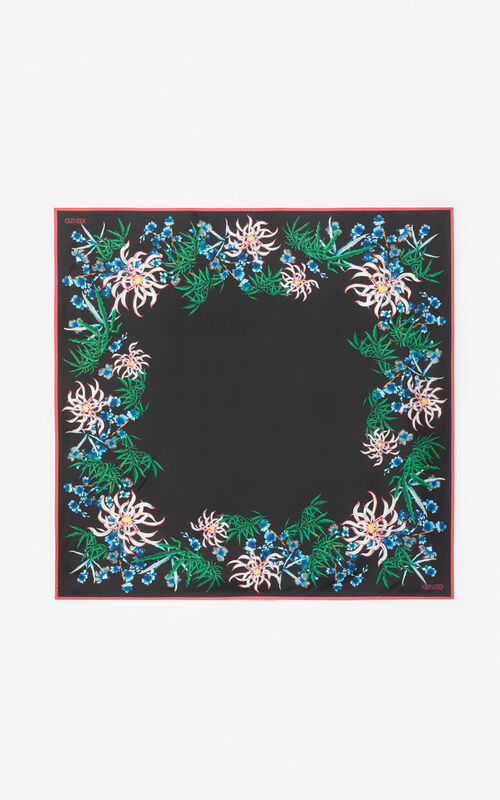 BLACK 'Sea Lily' silk square for unisex KENZO