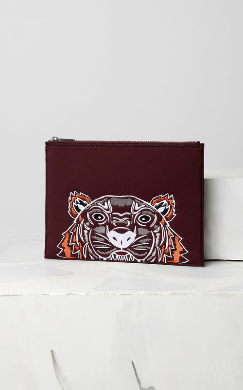 BORDEAUX Tiger neoprene clutch for unisex KENZO