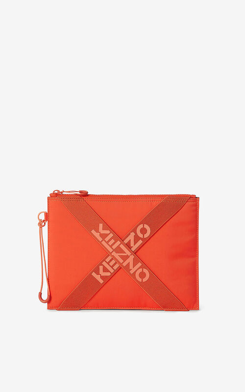 DEEP ORANGE KENZO Sport large clutch for unisex