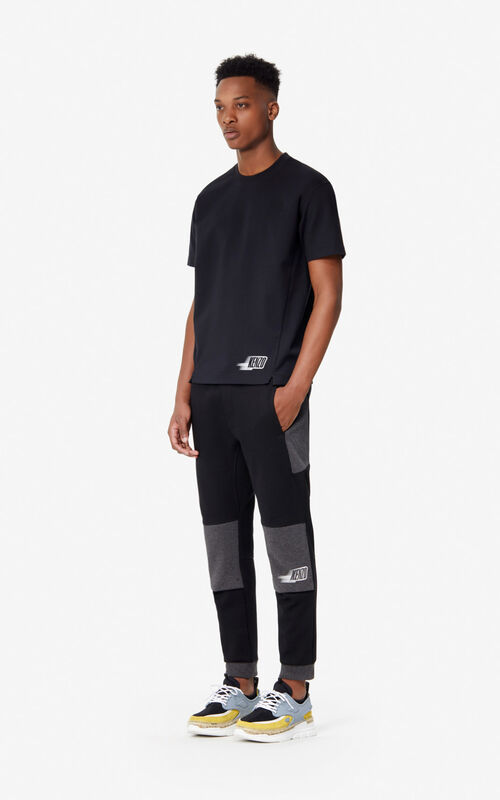 BLACK Two-tone jogging trousers for men KENZO