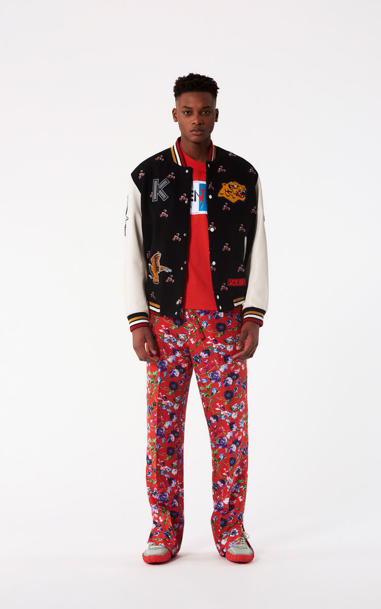 BLACK 'May Flowers' Embroidered Varsity Jacket for women KENZO