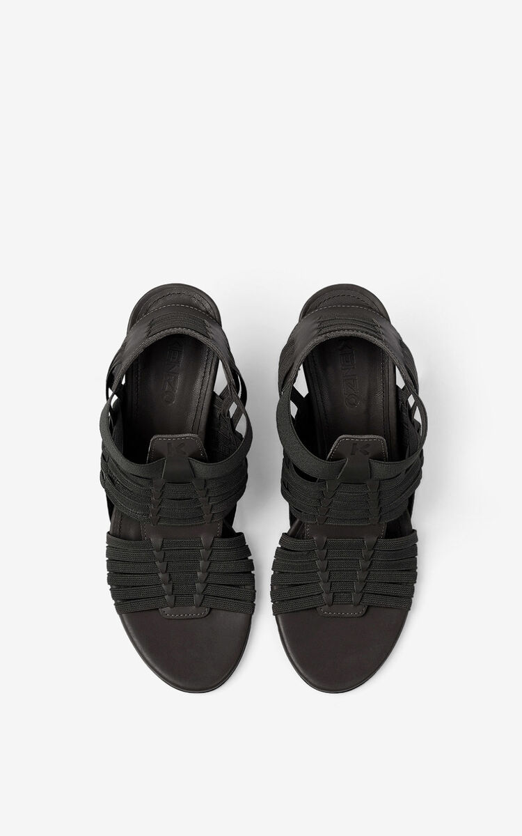BLACK Greek heeled leather sandals for women KENZO