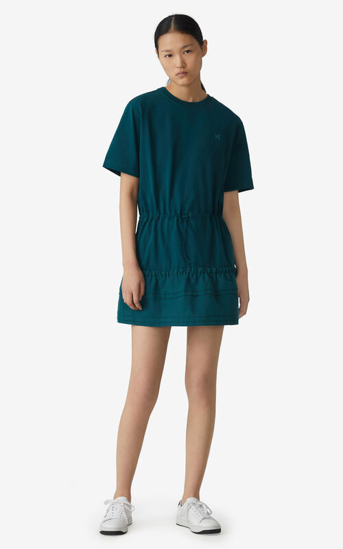 DUCK BLUE Dual-material T-shirt dress for women KENZO