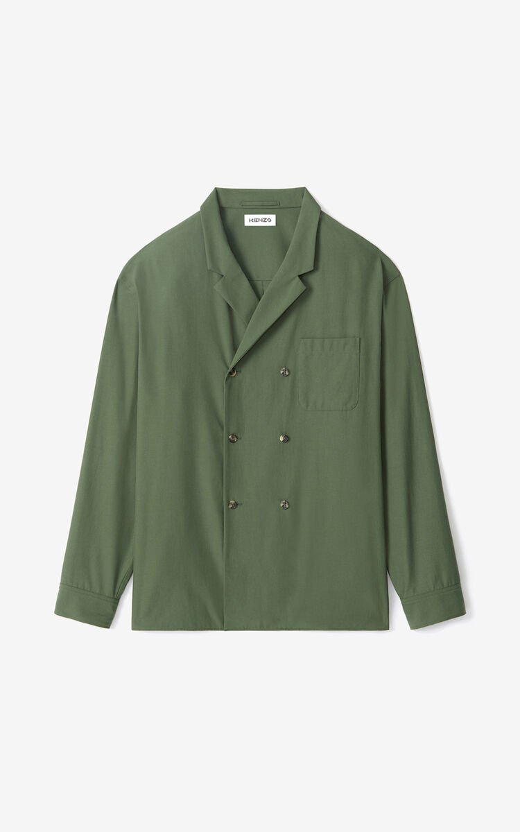 DARK KHAKI Double-breasted buttoned jacket for men KENZO