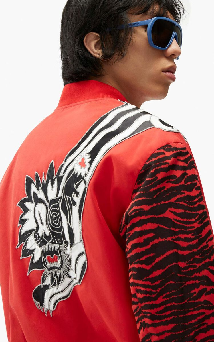 MEDIUM RED KENZO x KANSAIYAMAMOTO 'Mountain Lion' bomber jacket for men
