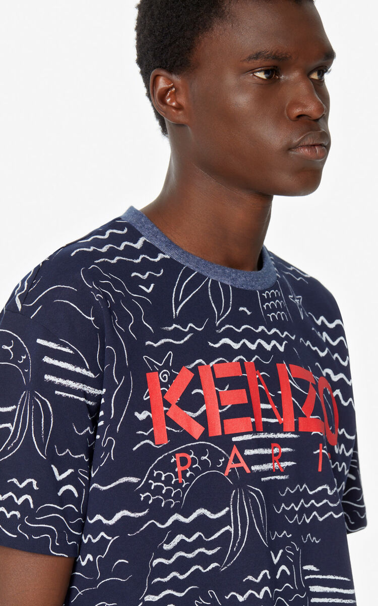 MIDNIGHT BLUE KENZO Paris 'Mermaids' T-shirt for men