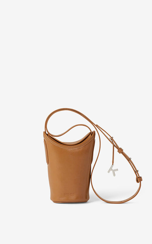 DARK CAMEL Small KENZO Onda leather bucket bag for men