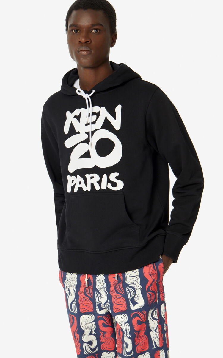 BLACK KENZO Paris hooded sweatshirt  for men
