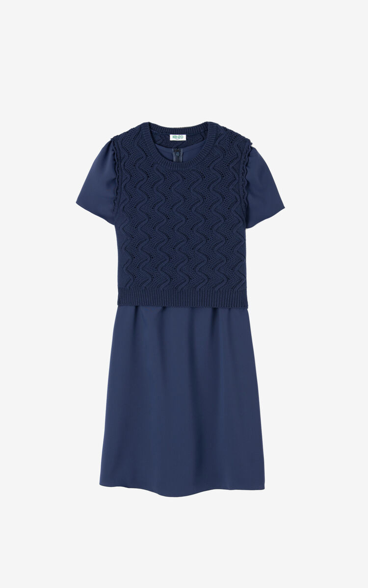 MIDNIGHT BLUE Dual-material dress for women KENZO