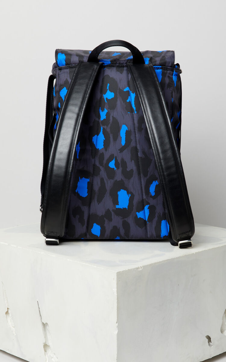 BLACK Leopard print backpack for men KENZO