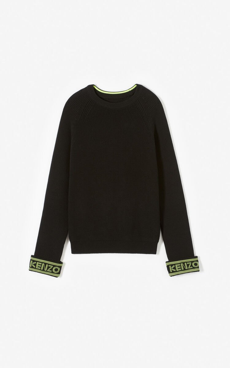 BLACK KENZO logo jumper for men