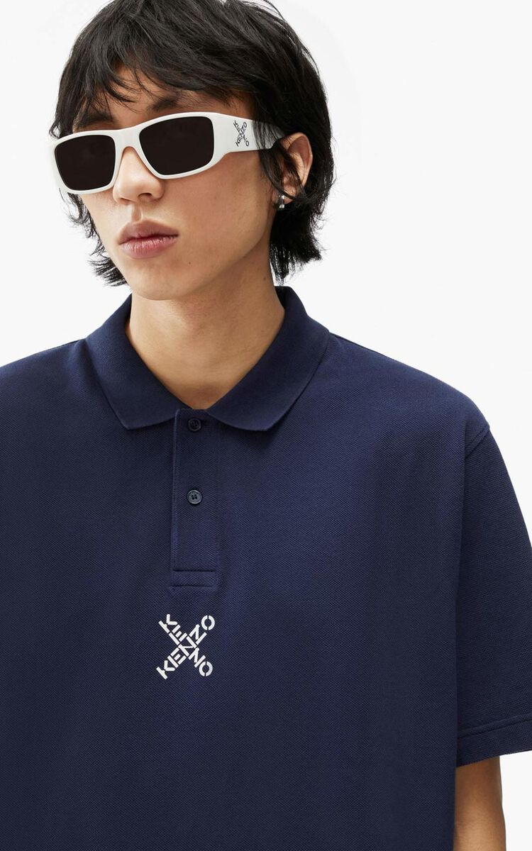 MIDNIGHT BLUE KENZO Sport 'Blocked K' oversize polo for women