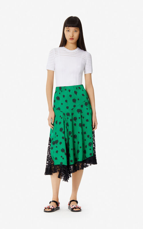 BOTTLE GREEN 'Roses' midi skirt for women KENZO