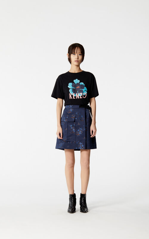 BLACK Boxy 'Indonesian Flower' t-shirt for women KENZO