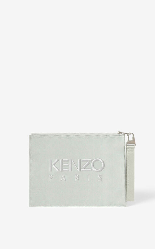 SAGE GREEN Large canvas Kampus Tiger pouch for unisex KENZO
