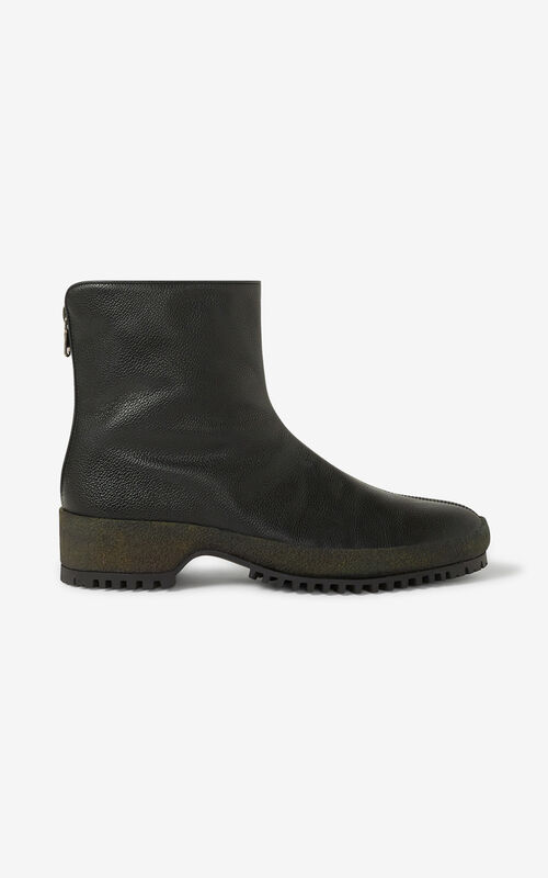 BLACK Grained leather ankle boots for men KENZO
