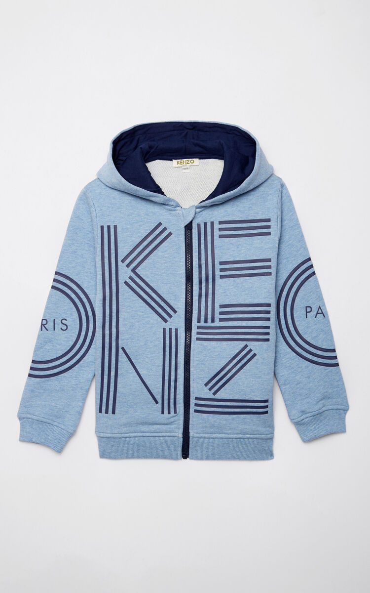 LIGHT BLUE KENZO Logo zipped sweatshirt for men