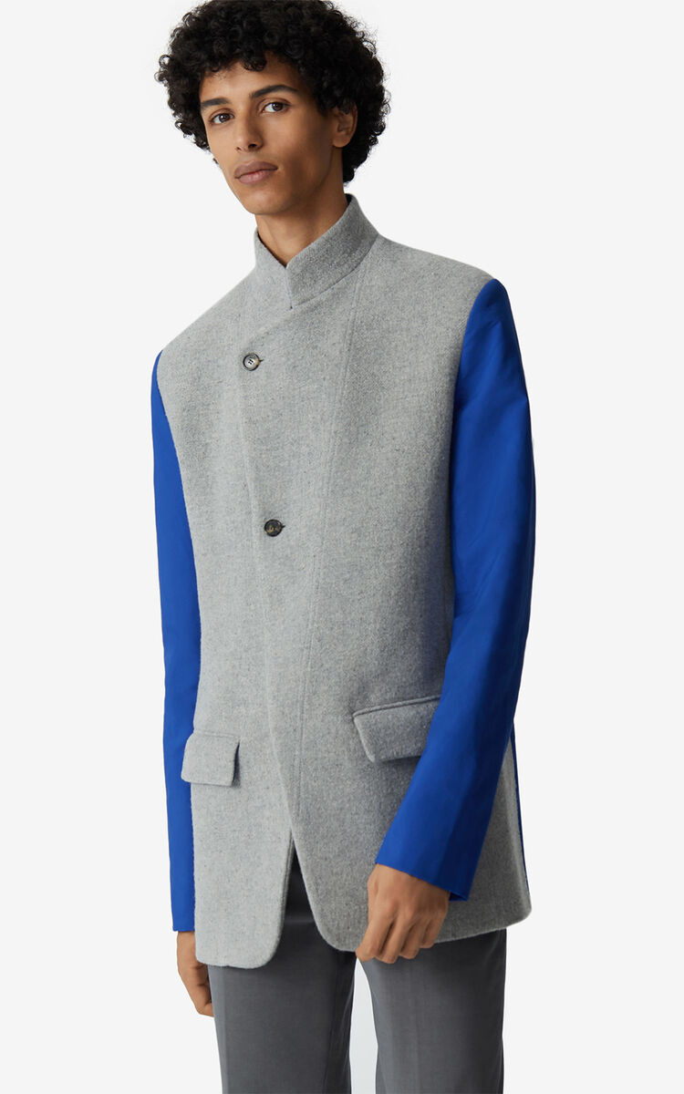PALE GREY Double-sided wool jacket for men KENZO