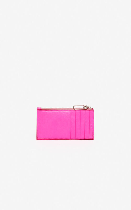 DEEP FUSCHIA KENZO Logo leather card holder for unisex