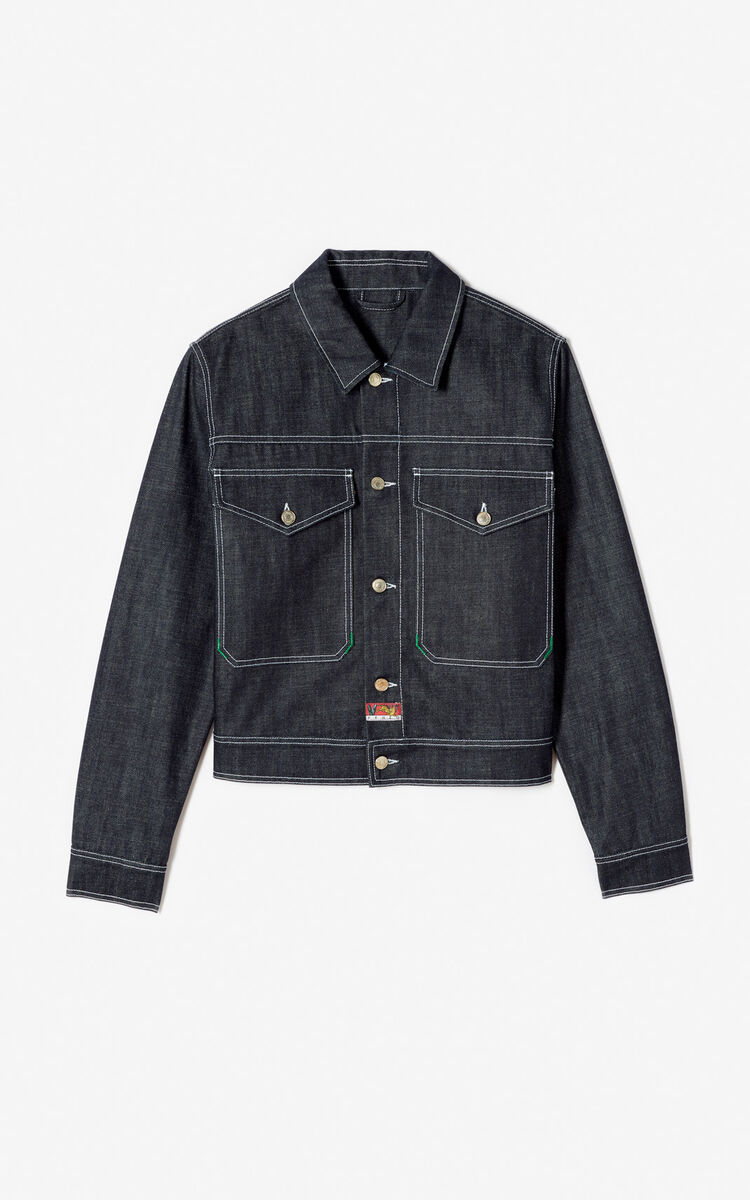 NAVY BLUE 'Bamboo Tiger' denim jacket for women KENZO
