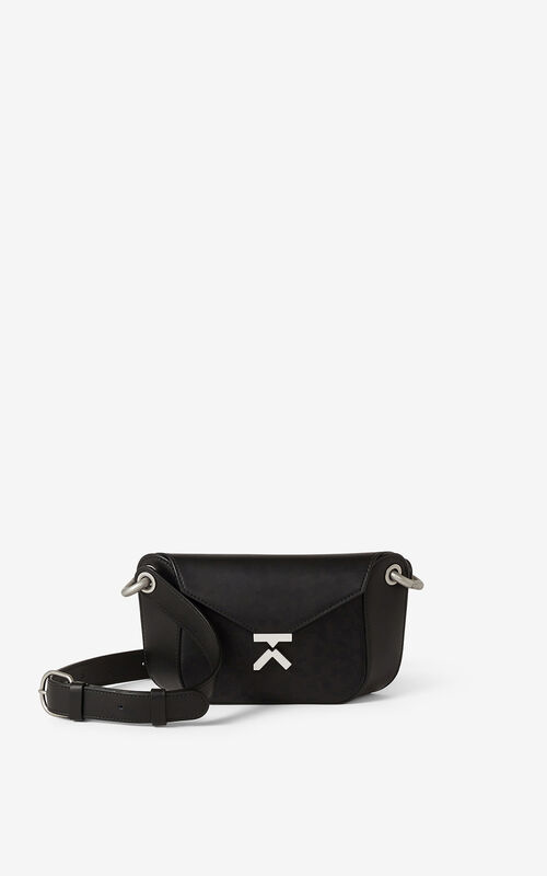 BLACK KENZO K leather belt bag for unisex