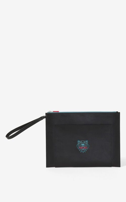 BLACK Large leather Ekusson Tiger pouch  for unisex KENZO