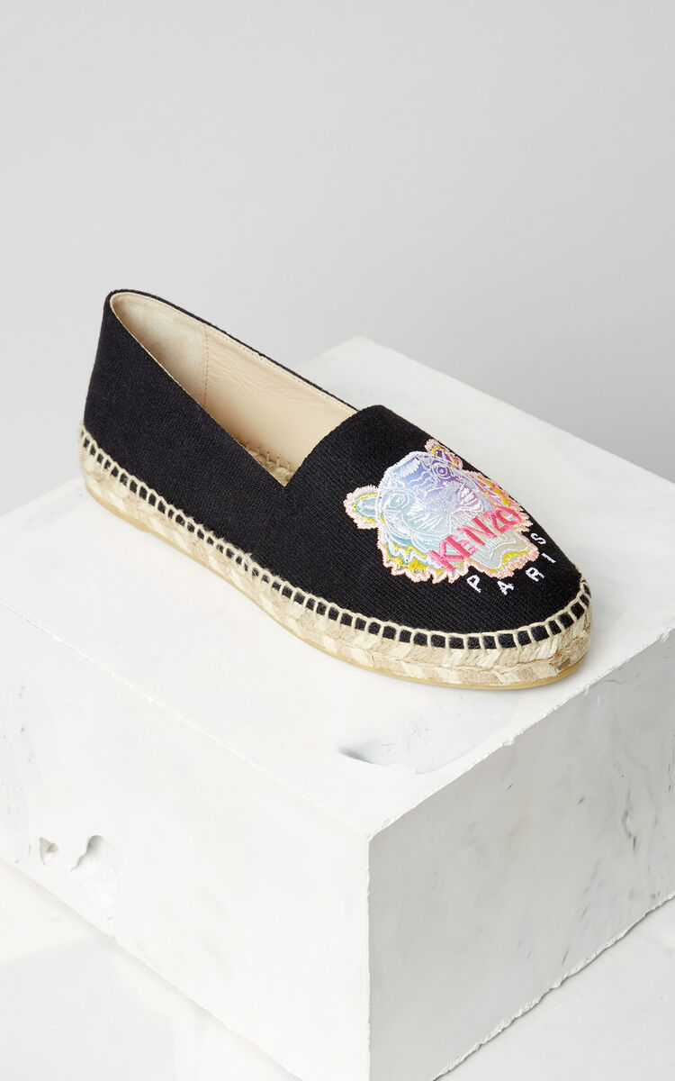 BLACK 'Rainbow' Tiger Espadrilles for unisex KENZO