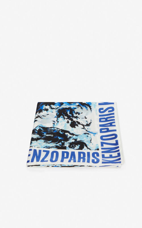 WHITE 'KENZO World' silk square for unisex